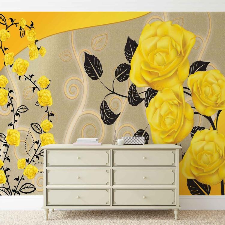 Roses fleurs jaunes abstrait poster mural papier peint for Poster mural xxl fleurs