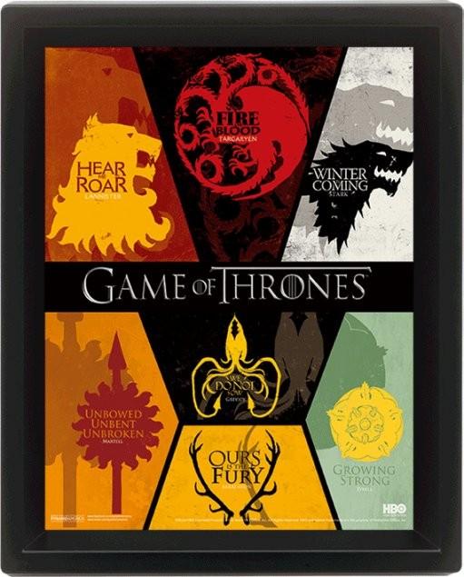 Game of Thrones - Sigil 3D plakat indrammet