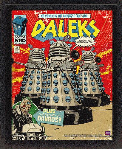3D Plakát, Obraz s rámem  Doctor Who - Daleks Comic Cover