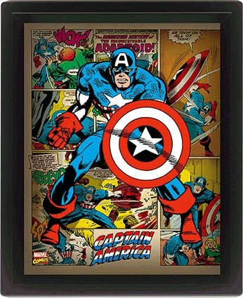 Marvel Retro - Captain America 3D plakát keretezve