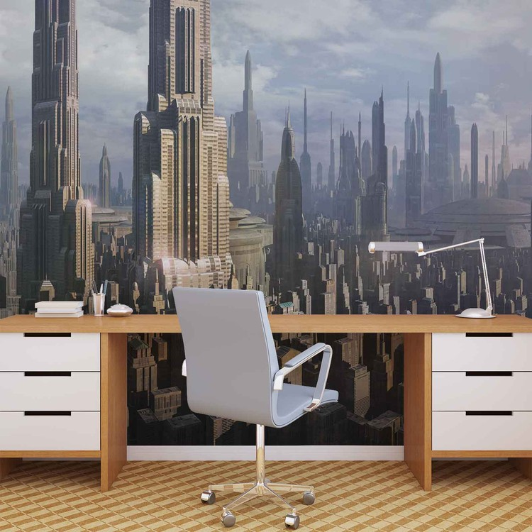Fototapete tapete star wars stadt coruscant bei europosters for Star wars tapete kinderzimmer