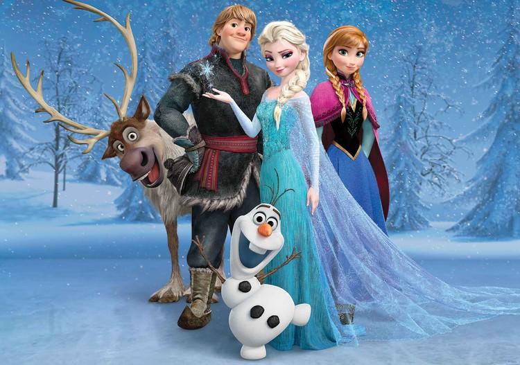 Fototapeta, Tapeta Disney Ledové království - Elsa, Anna, Olaf, Sven, (104 x 70.5 cm) 104x70.5 cm - 130g/m2 Vlies Non-Woven