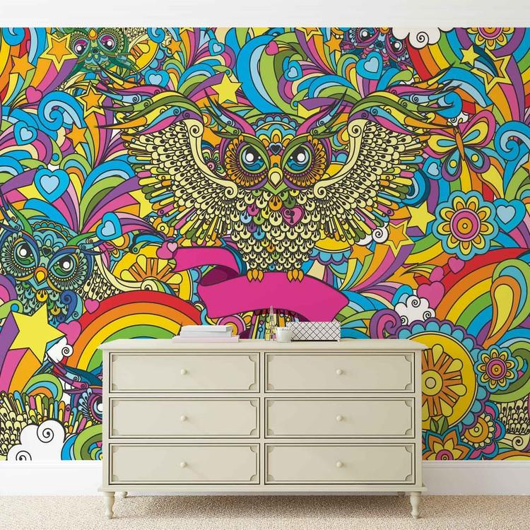 Chouettes color es etoiles arc en ciel fleurs poster mural for Poster mural xxl fleurs