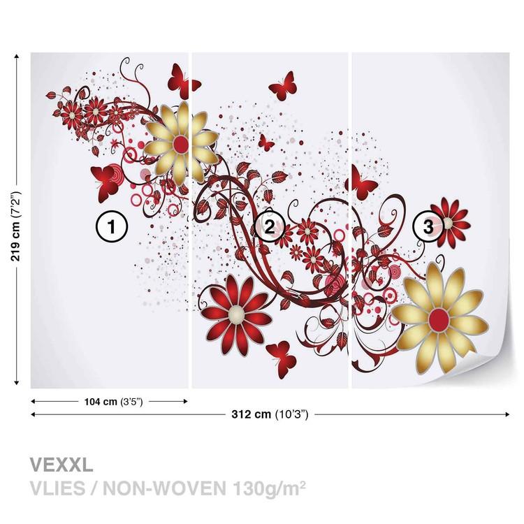 Fleurs papillons motif rouge poster mural papier peint for Poster mural xxl fleurs