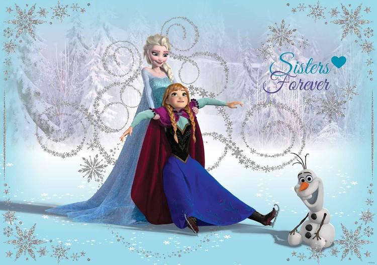 Fototapeta, Tapeta Disney Ledové království - Elsa, Anna, Olaf, (104 x 70.5 cm) 104x70.5 cm - 130g/m2 Vlies Non-Woven