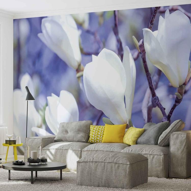 Fleurs magnolia nature poster mural papier peint for Poster mural xxl fleurs