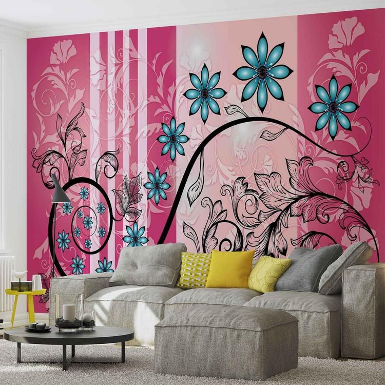 Motif floral de fleurs poster mural papier peint for Poster mural xxl fleurs