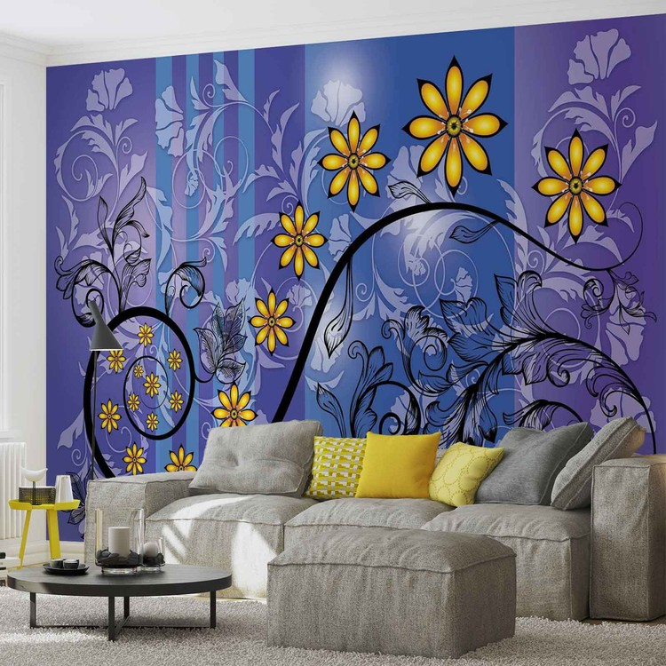 motif floral de fleurs poster mural papier peint. Black Bedroom Furniture Sets. Home Design Ideas