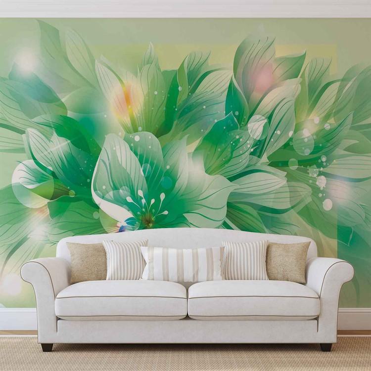 Fleurs nature vert poster mural papier peint acheter le for Poster mural xxl fleurs