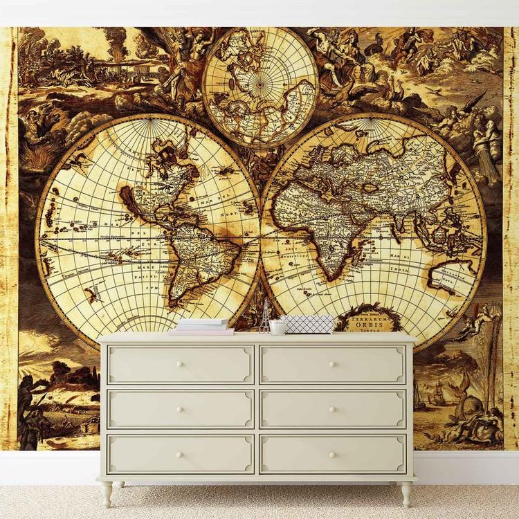 fototapete tapete weltkarte vintage bei europosters. Black Bedroom Furniture Sets. Home Design Ideas