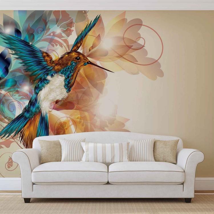 fototapete tapete v gel kolibri blumen abstrakt bei. Black Bedroom Furniture Sets. Home Design Ideas