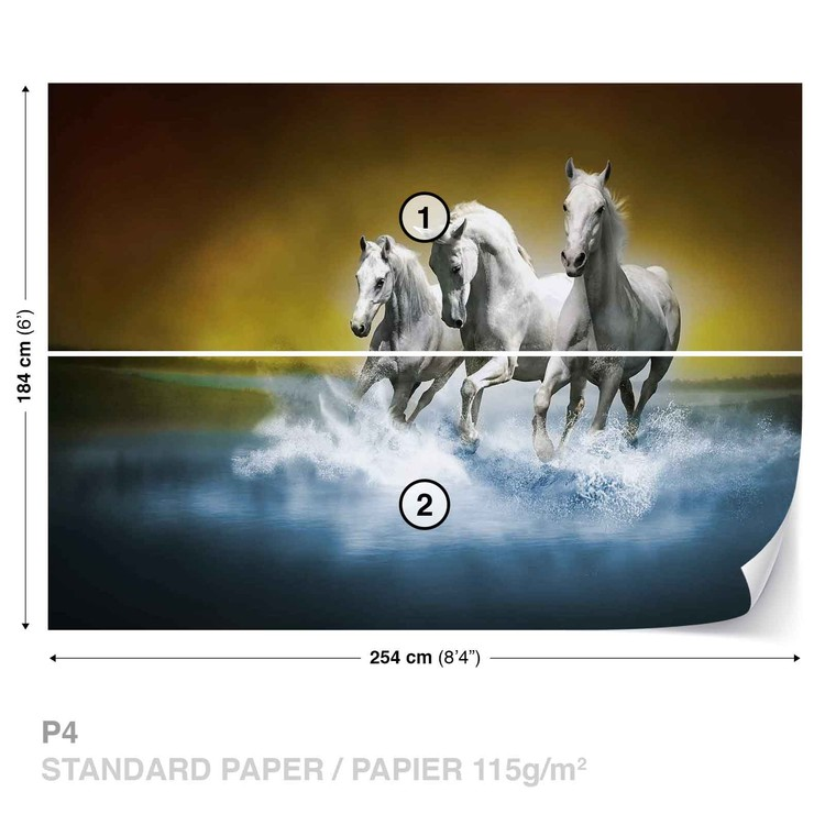 les chevaux poster mural papier peint acheter le sur. Black Bedroom Furniture Sets. Home Design Ideas