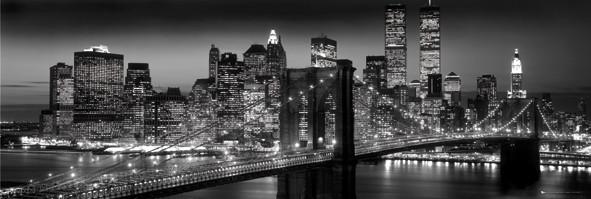 Plakát, Obraz - New York - Manhattan black, (91 x 30 cm)