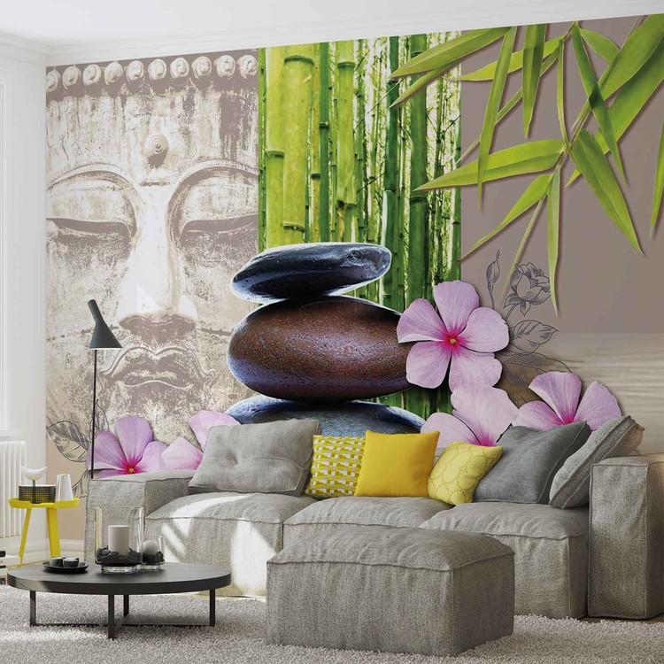 Fleurs aux pierres zen poster mural papier peint for Poster mural xxl fleurs