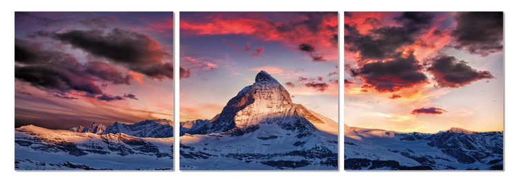 Obraz na zeď - Červené mraky nad vrcholem, (150 x 50 cm)