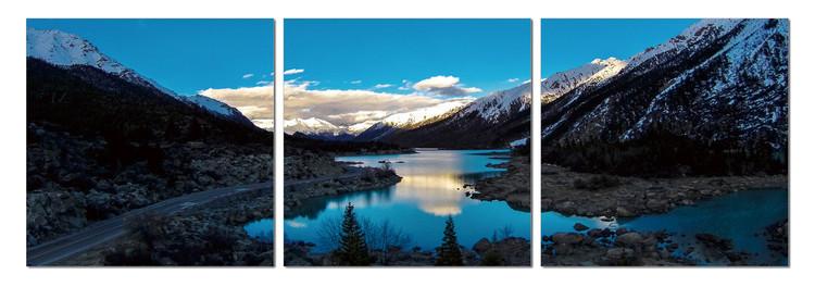 Obraz na zeď - Jezero ve stínu hor, (120 x 40 cm)