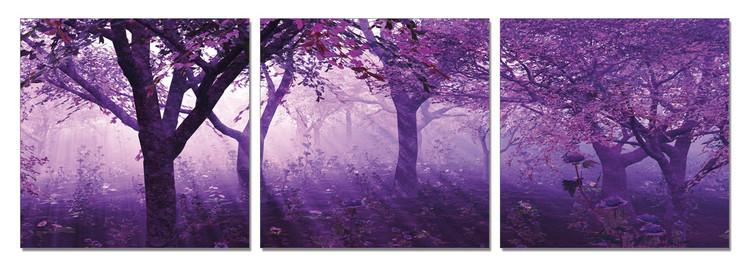 Obraz na zeď - Stromy ve fialové, (150 x 50 cm)