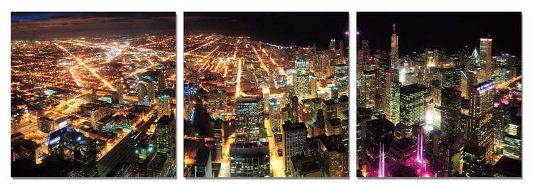 Obraz na zeď - Osvětlená metropole v noci, (150 x 50 cm)