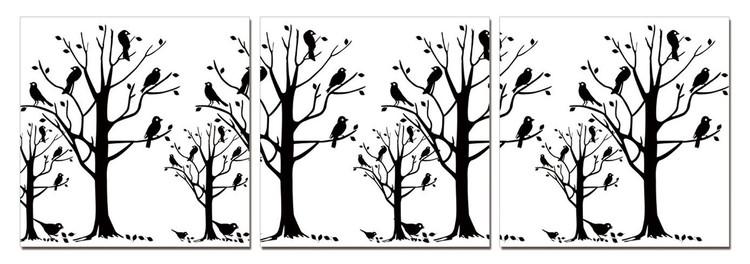 Obraz na zeď - Moderní design – černé stromy, (120 x 40 cm)