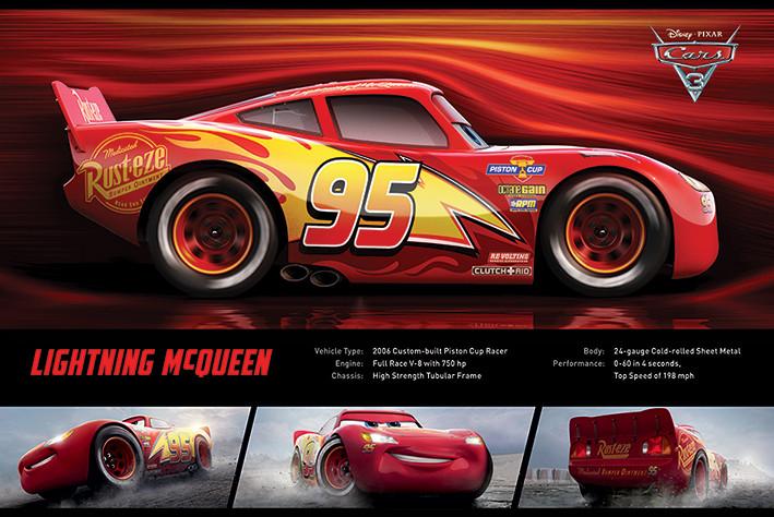 Plakát, Obraz - Auta 3 - Lightning McQueen Stats, (91,5 x 61 cm)