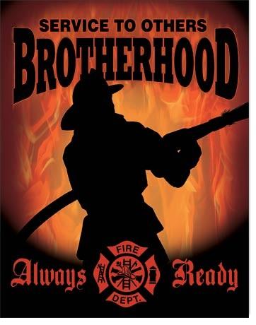 Plechová cedule Firemen - Brotherhood, (30 x 42 cm)