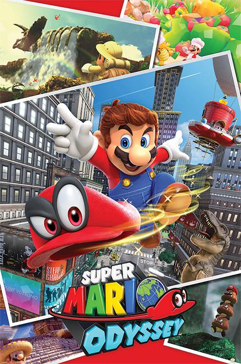 Plakát, Obraz - Super Mario Odyssey - Collage, (61 x 91,5 cm)