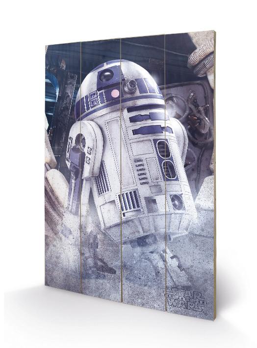 Dřevěný obraz Star Wars: Poslední z Jediů - R2-D2 Droid, (40 x 59 cm)