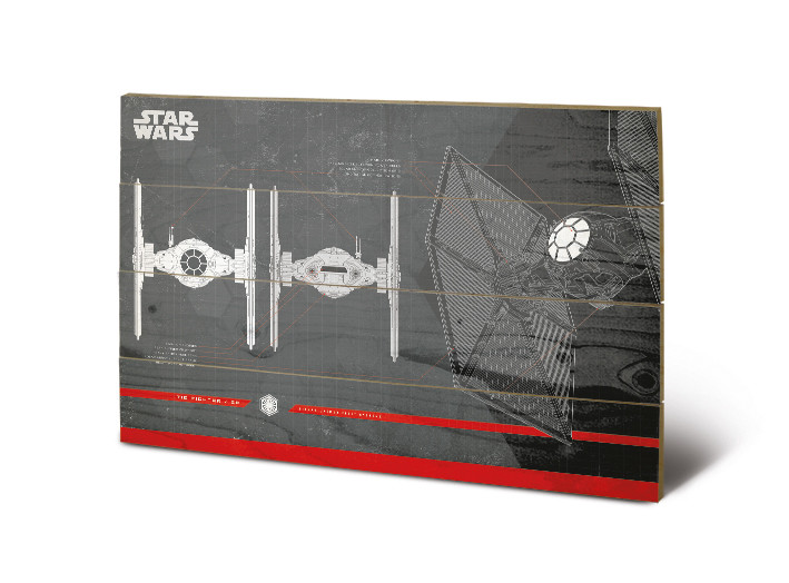 Dřevěný obraz Star Wars: Poslední z Jediů - Tie Fighter Plans, (40 x 59 cm)