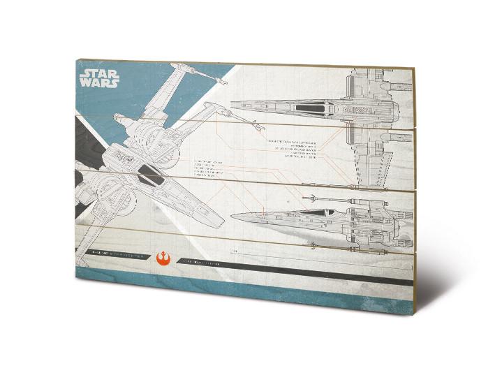 Dřevěný obraz Star Wars: Poslední z Jediů - X-Wing Plans, (40 x 59 cm)