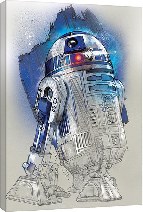 Obraz na plátně Star Wars: Poslední z Jediů - R2-D2 Brushstroke, (60 x 80 cm)