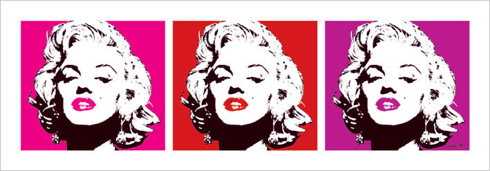 Obraz, Reprodukce - Marilyn Monroe - Red Triptych, (33 x 95 cm)