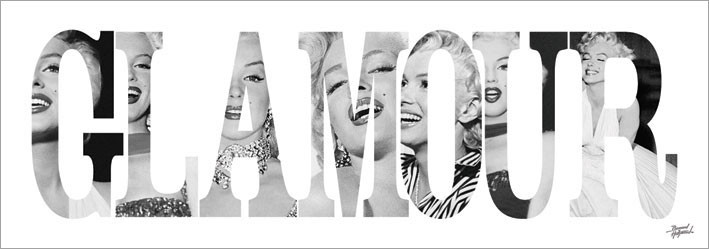 Obraz, Reprodukce - Marilyn Monroe - Glamour - Text, (33 x 95 cm)
