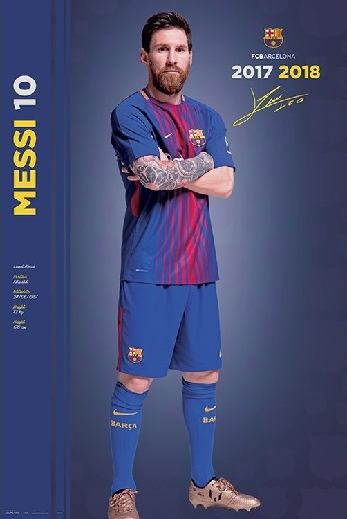 Plakát, Obraz - Fc Barcelona 2017/2018 Messi - Pose, (61 x 91,5 cm)
