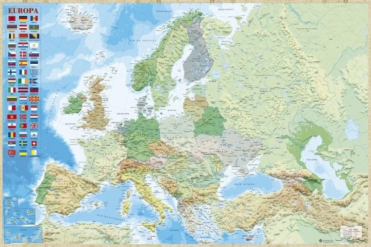 Plakát, Obraz - Mapa Evropy - Politická, (91,5 x 61 cm)