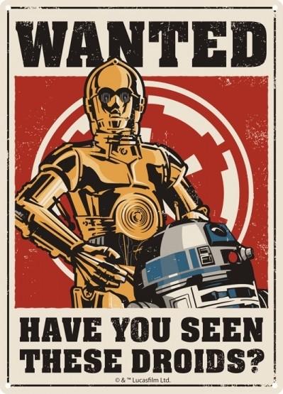 Plechová cedule Star Wars - Droids, (15 x 21 cm)
