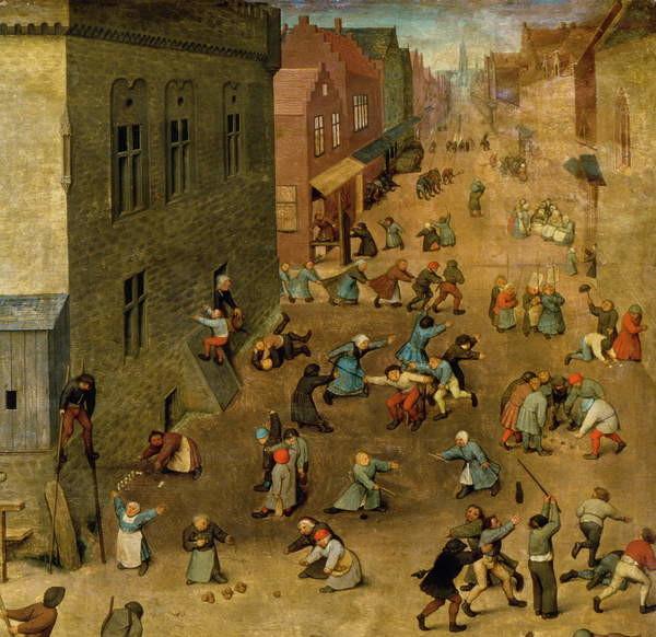 Obraz, Reprodukce - Children's Games (Kinderspiele): detail of top right hand corner, 1560 (oil on panel), Pieter the Elder Bruegel 40x39 cm