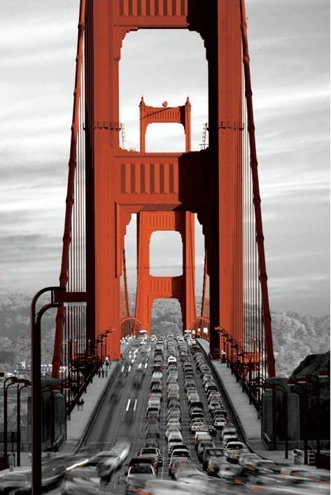 Plakát, Obraz - San Francisco - golden gate bridge, (61 x 91,5 cm)