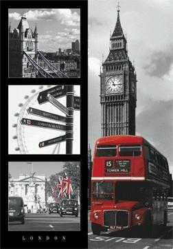 London red bus 3D Plakát, 3D Obraz, (47 x 68 cm)