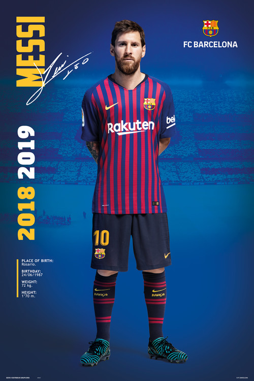 Plakát, Obraz - FC Barcelona 2018/2019 - Messi Pose, (61 x 91,5 cm)