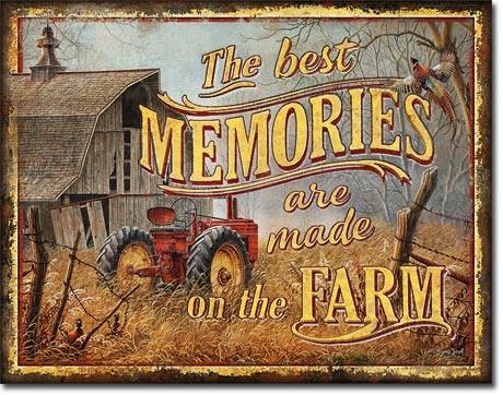 Plechová cedule JQ - Farm Memories, (41 x 32 cm)