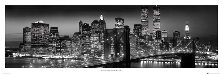 Plakát, Obraz - New York - Manhattan black, (158 x 53 cm)