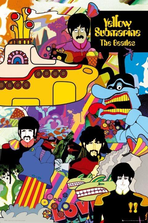 Plakát, Obraz - the Beatles - yellow submarine, (61 x 91,5 cm)