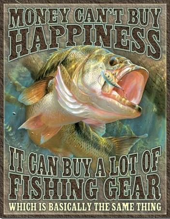 Plechová cedule Fishing Happiness, Marta Gottfried, (32 x 41 cm)