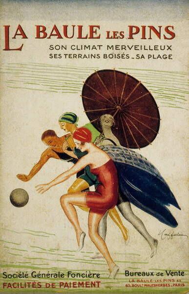 """Cappiello, Leonetto - Obraz, Reprodukce - French advertisement by Leonetto Cappiello for the """"societe Generale fonciere"""" of La Baule les Pins, France, 30's 26.7x40 cm"""
