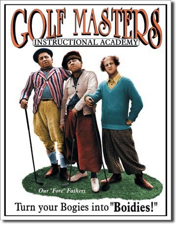 Plechová cedule STOOGES - golf masters, (32 x 41 cm)