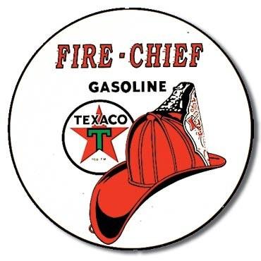 Plechová cedule TEXACO - fire chief, (30 x 30 cm)