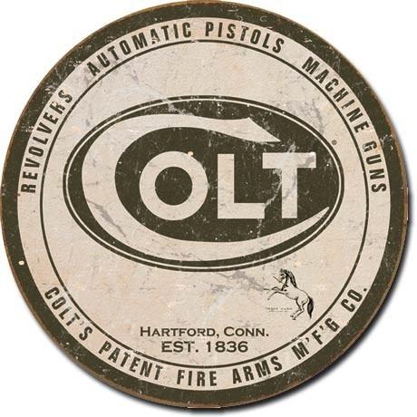Plechová cedule COLT - round logo, (30 x 30 cm)
