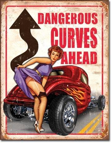 Plechová cedule LEGENDS - dangerous curves, (32 x 41 cm)