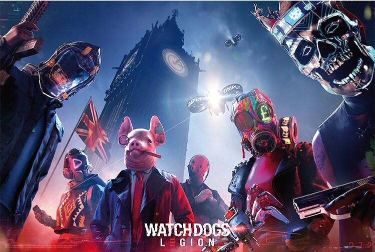 Plakát, Obraz - Watch Dogs - Keyart Legion, (91,5 x 61 cm)