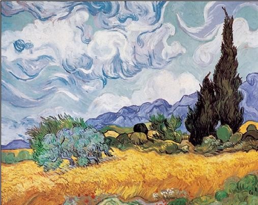 A Wheatfield with Cypresses, 1889 Festmény reprodukció
